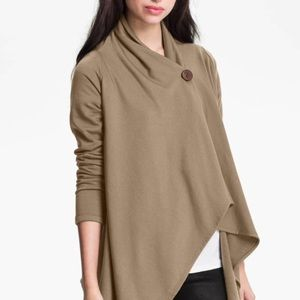Bobeau One Button Vegan Suede Waterfall Cardigan S